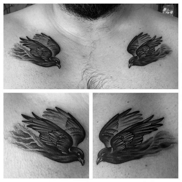 Odins Ravens Tattoo Design On Man