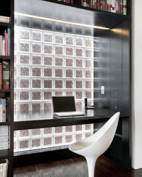 Office Desk Window Home Interior Glass Block