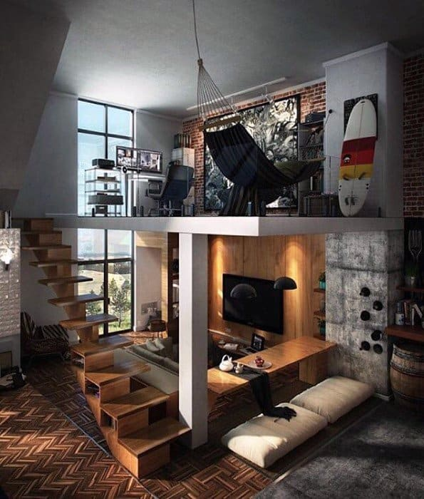 Office With Living Room Ultimate Bachelor Pad