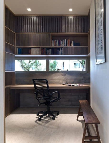 Office Wood Built In Desk Ideas