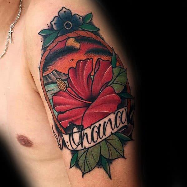 Ohana Mens Hibiscus Flower Upper Arm Old School Tattoo