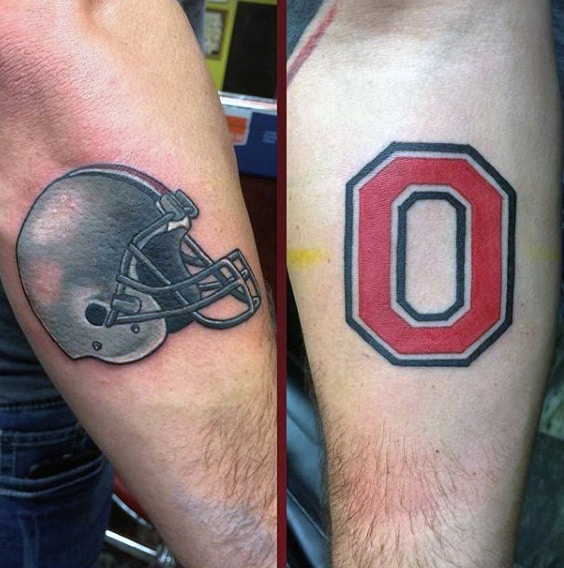 Ohio State Football Helmet Mens Forearm Tattoo