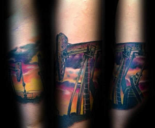 Oilfield Sunset Male Forearm Quarter Sleeve Tattoo Ideas