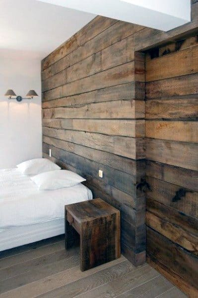 Old Barn Wood Bedroom Wall And Sliding Door Design Ideas