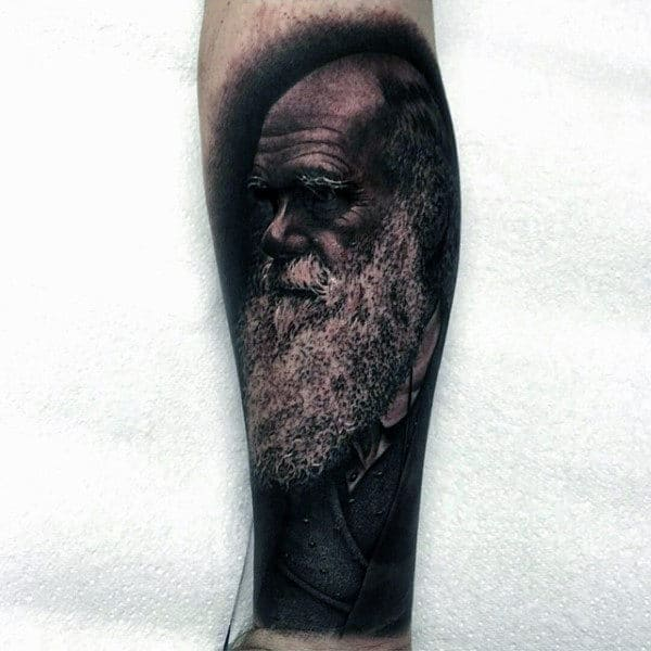 Old Man Inner Forearm Mens Black Ink Shaded Portrait Tattoos