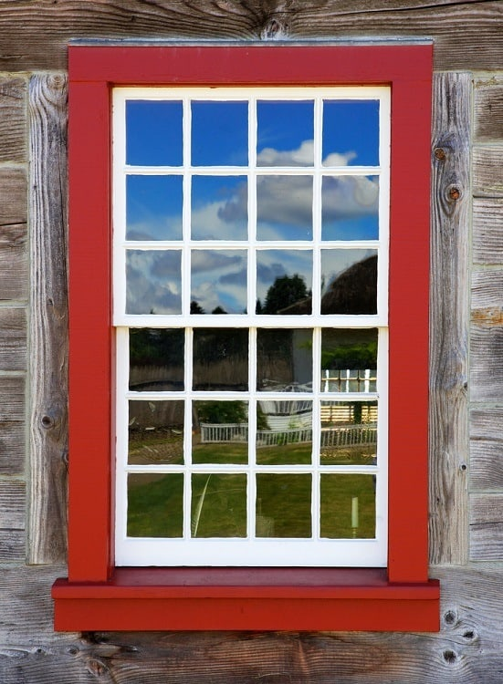 Old Red And White Window On A Vintage Wood