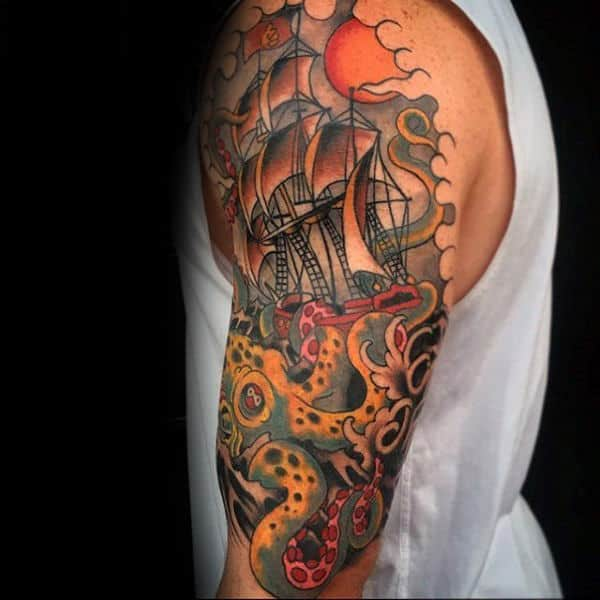 Old Schol Male Kraken Half Sleeve Tattoo Desin Ideas