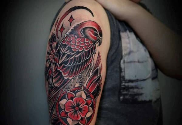 Old School American Traditional Upper Arm Falcon Tattoos For Guys