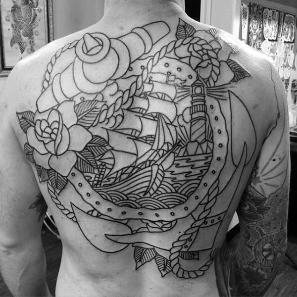 Old School Anchor Nautical Themed Back Tattoos For Men