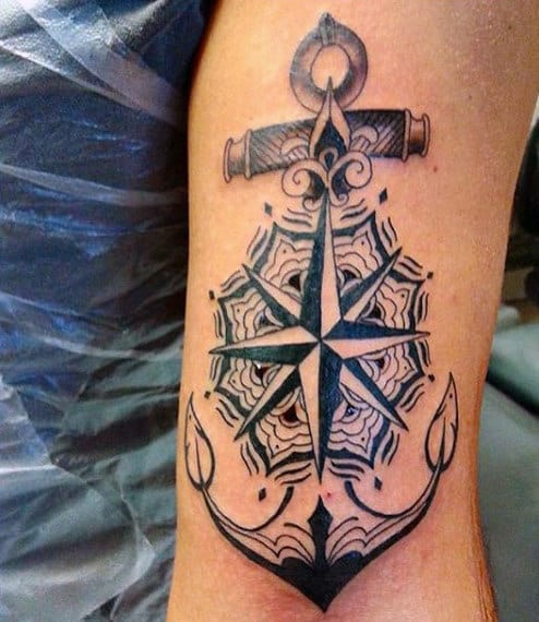 Old School Anchor Tattoo For Men