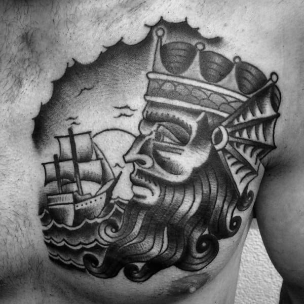 Old School Aquarius Ship Mens Chest Tattoos