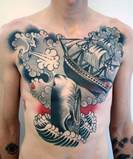 Old School Awesome Mens Chest Tattoo Of Sailing Ship With Whale