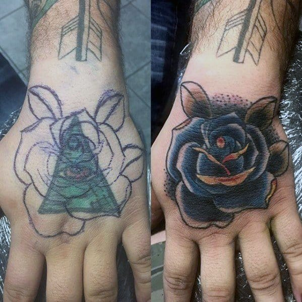 Old School Blue Rose Flower Tattoo Cover Up Ideas On Hands For Men