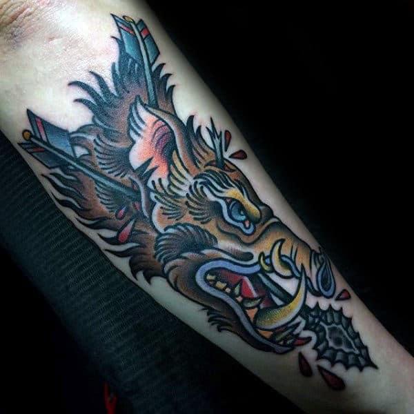 Old School Boar Arrow Tattoo For Gentlemen On Outer Forearm