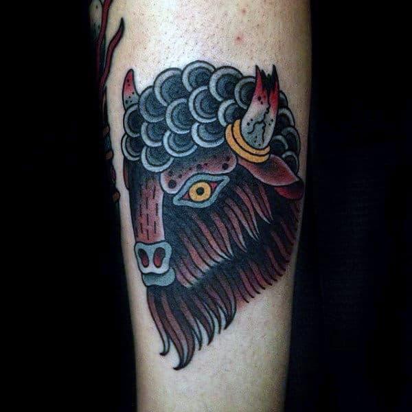 Old School Broken Horns Male Bison Tattoos