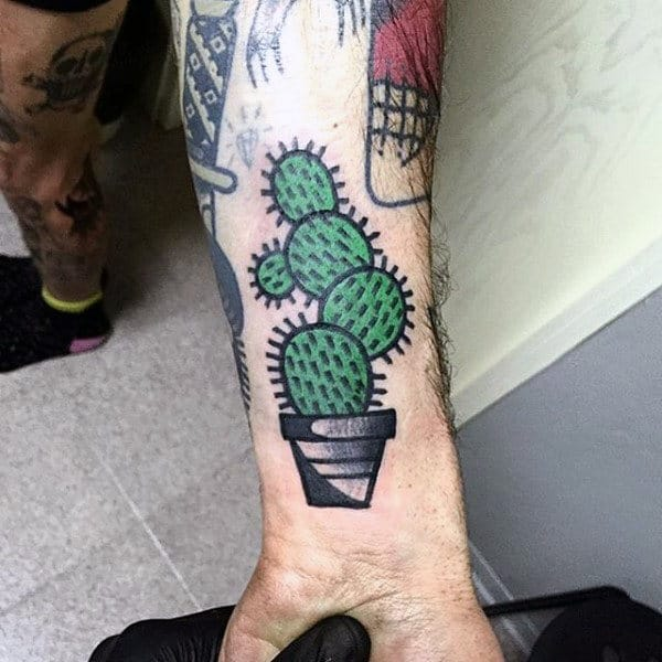 Old School Cactus Wrist Tattoo For Guys