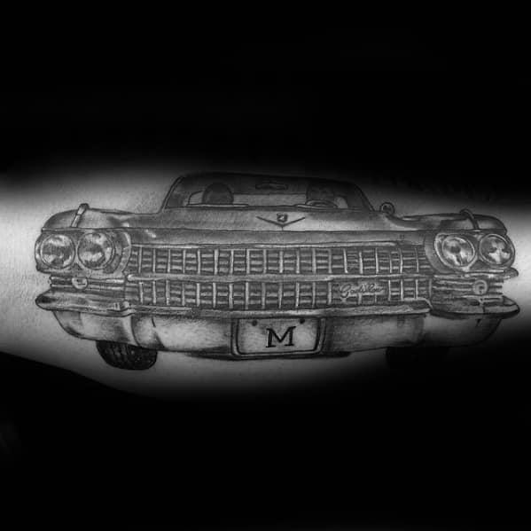Old School Cadillac Male Forearm Tattoo