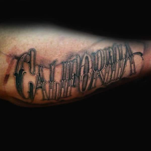 Old School California Lettering Mens Outer Forearm Tattoo Design Inspiration