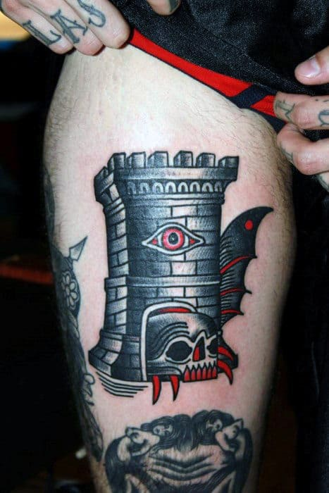 Old School Castle With All Seeing Eye And Skull Male Thigh Tattoo