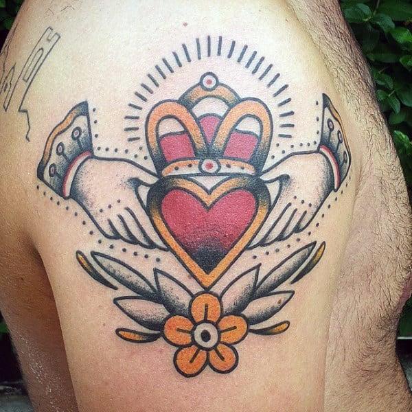 Old School Claddagh Upper Arm Male Tattoos