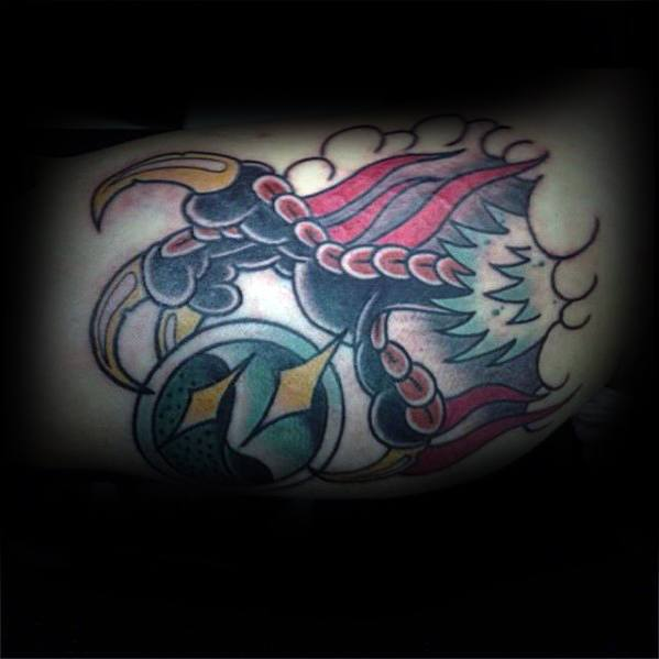 Old School Claw Bicep Crystal Ball Tattoo Design Ideas For Males