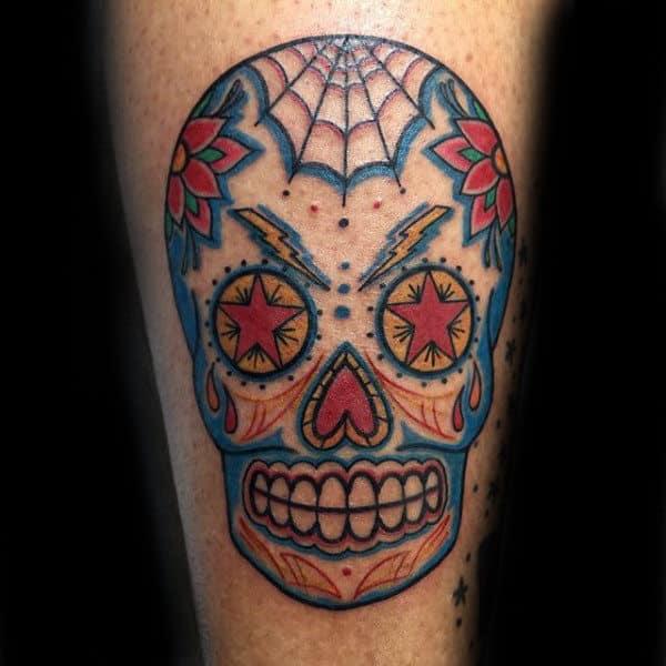 Old School Colorful Sugar Skull Male Tattoos