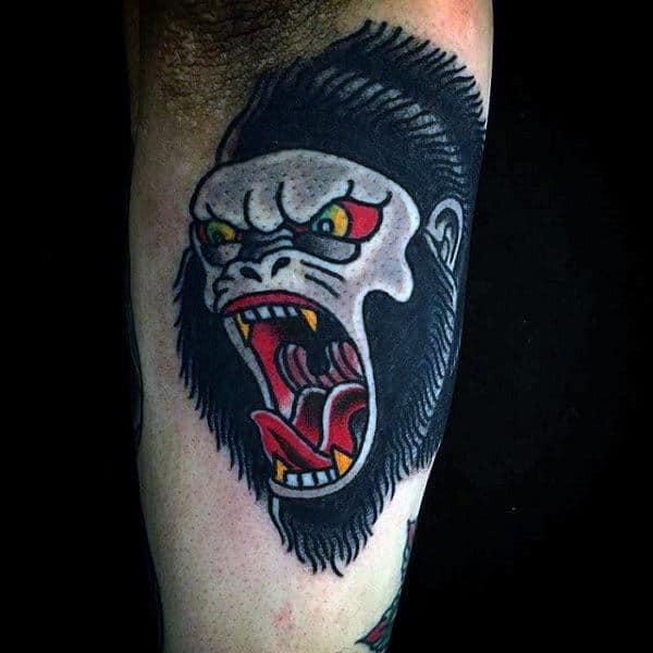 Old School Design Of Gorilla Tattoo For Guys
