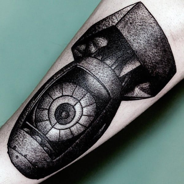 Old School Dotwork Insane Mens Bomb Bicep Tattoo Design
