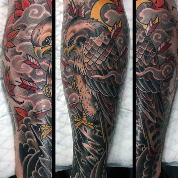 Old School Eagle With Arroows Mens Shin Tattoo Ideas
