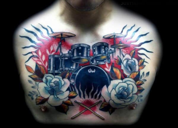 Old School Floral Upper Chest Guys Drum Tattoo Ideas