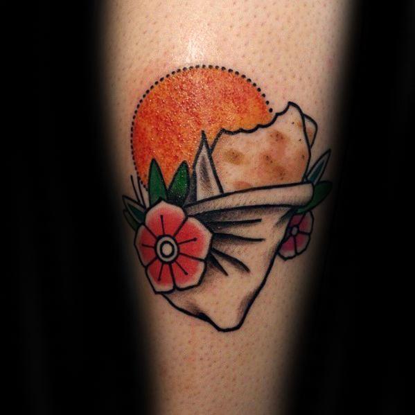 Old School Forearm Male Burrito Tattoo Design Inspiration