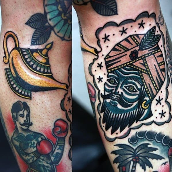 Old School Forearm Sharp Genie Lamp Male Tattoo Ideas