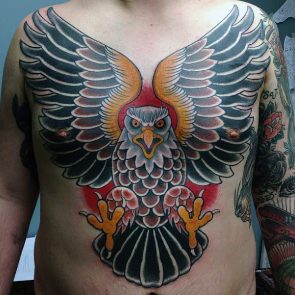 Old School Full Chest Eagle Red Black And Yellow Mens Tattoo