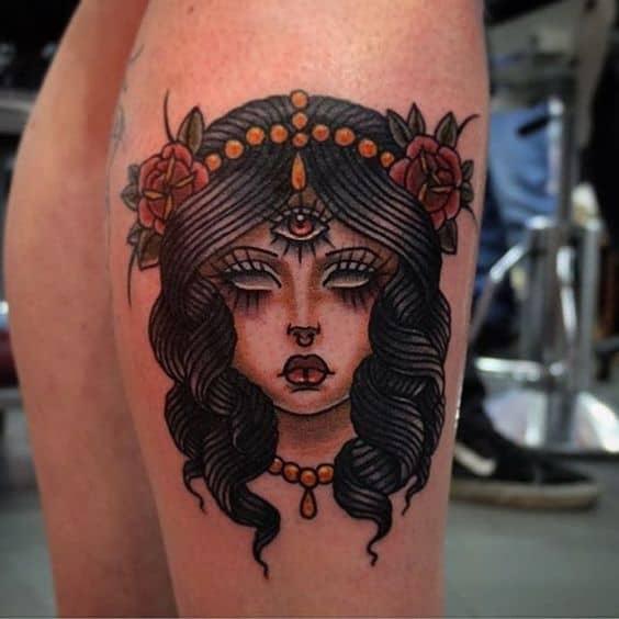 Old School Girl Third Eye Tattoo