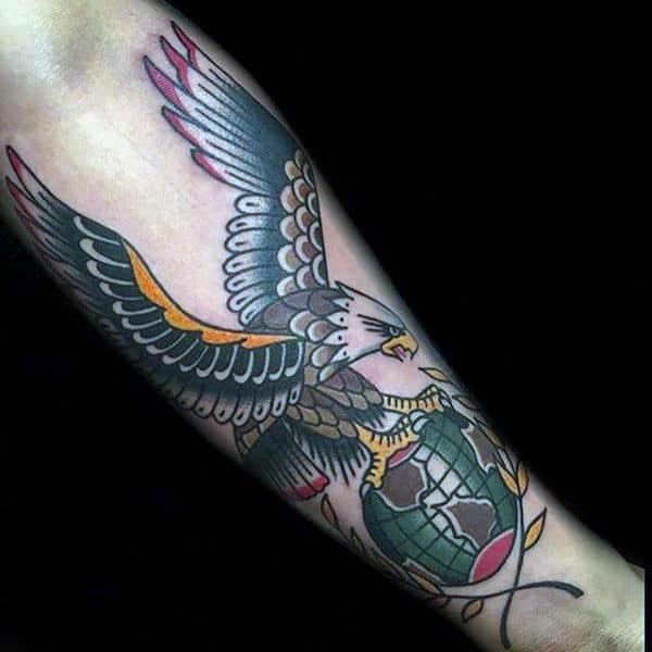 Old School Globe Eagle Male Forearm Tattoo