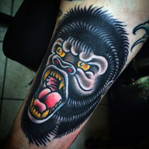Old School Gorilla Mens Tattoo Ideas