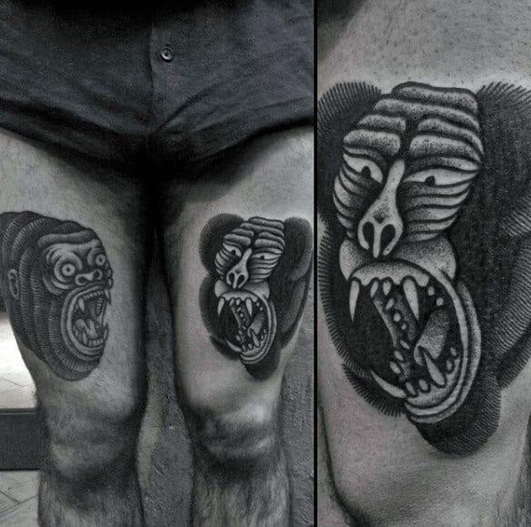 Old School Gorilla Tattoo On Guys Thigh