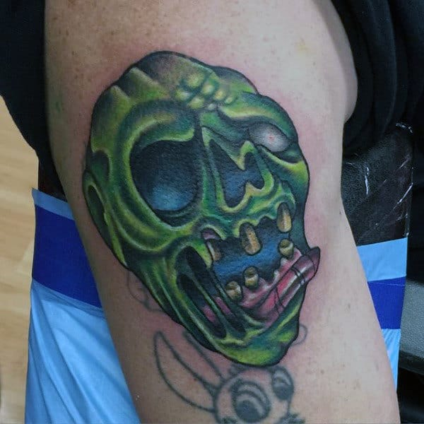 Old School Green Face Graffiti Zombie Tattoo For Guys On Arm