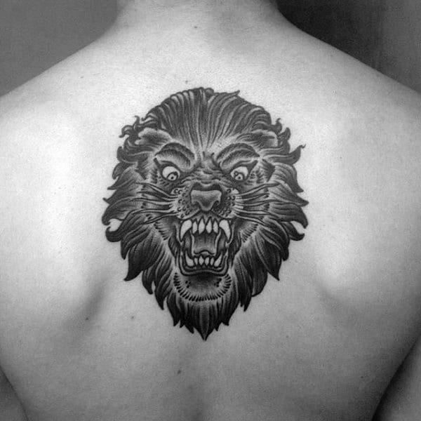Old School Guys Angry Roaring Lion Upper Back Tattoo