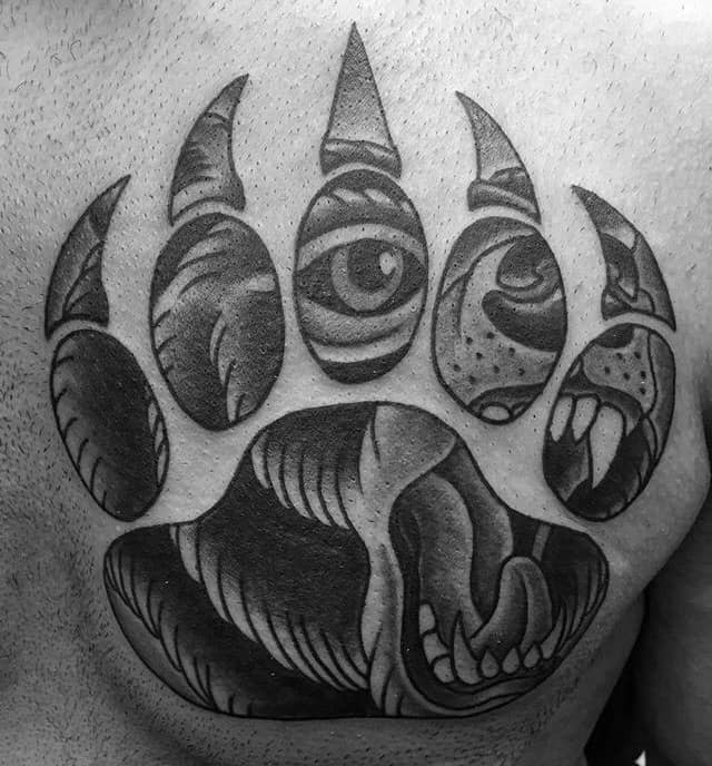 Old School Guys Bear Claw Chest Tattoos