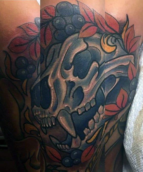 Old School Guys Bear Skull Forearm Tattoo