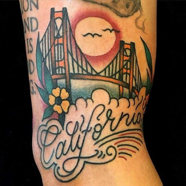 Old School Guys California Golden Gate Bridge Arm Tattoos