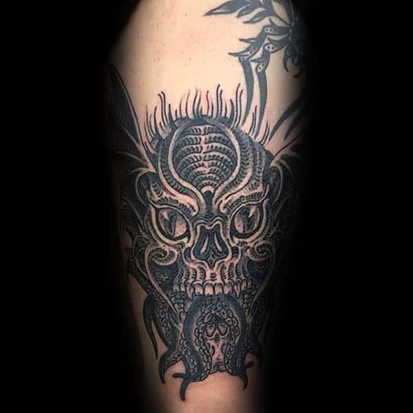 Old School Guys Cthulhu Arm Tattoos