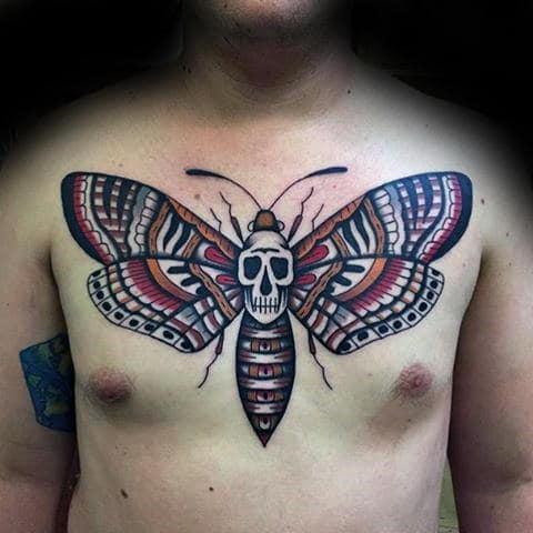 Old School Guys Decorative Moth Upper Chest Tattoos