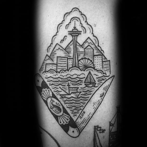 Old School Guys Detailed Seattle Skyline Arm Tattoo