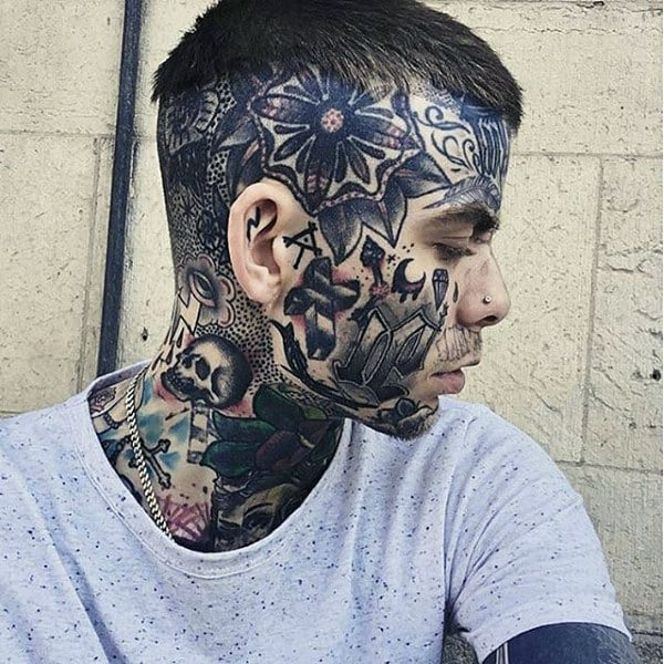 Cool Face Tattoos: 90 Face Tattoos For Men