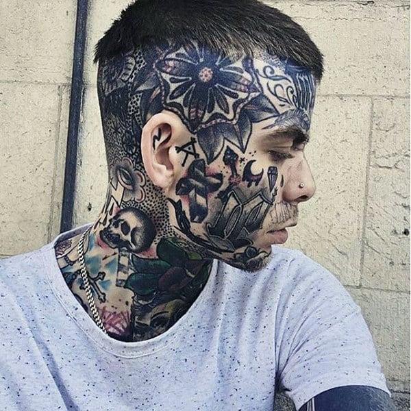 Old School Guys Face Tattoo Design Ideas