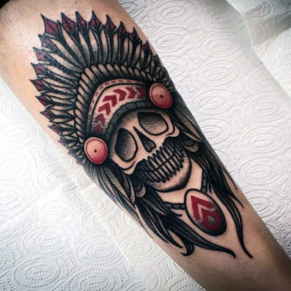 Old School Guys Indian Skull Forearm Tattoo Inspiration