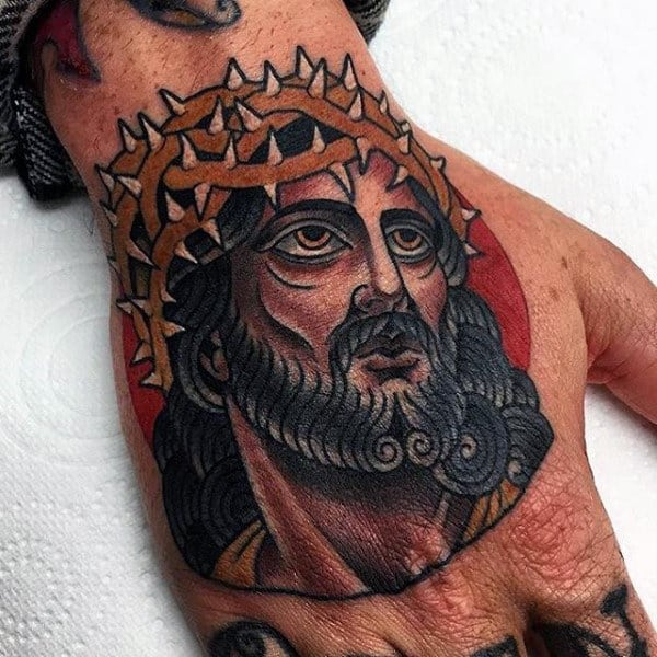 Old School Guys Jesus Hands Tattoos