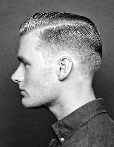 Old School Guys Low Fade Hard Part Hairstyle